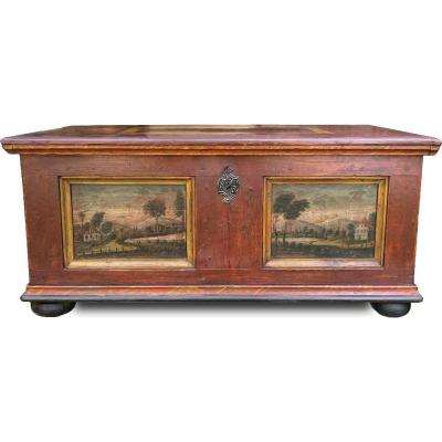 Antique Red Tyrolean Chest With Landscapes