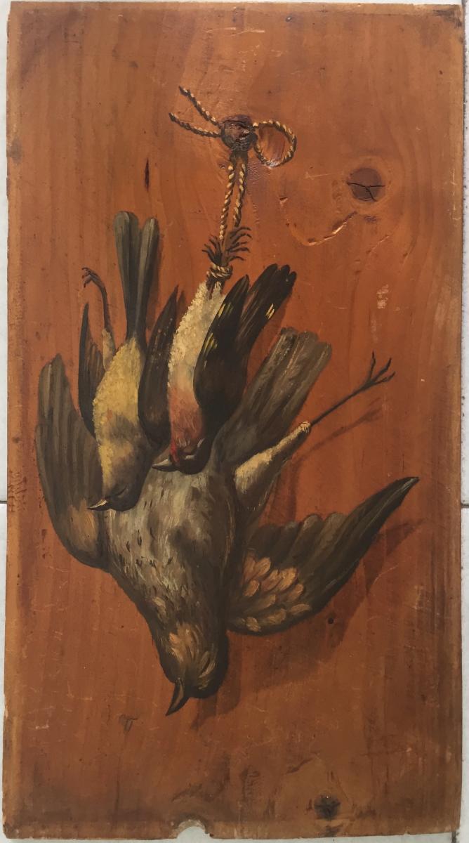 Suite de 4 tableaux avec oiseaux