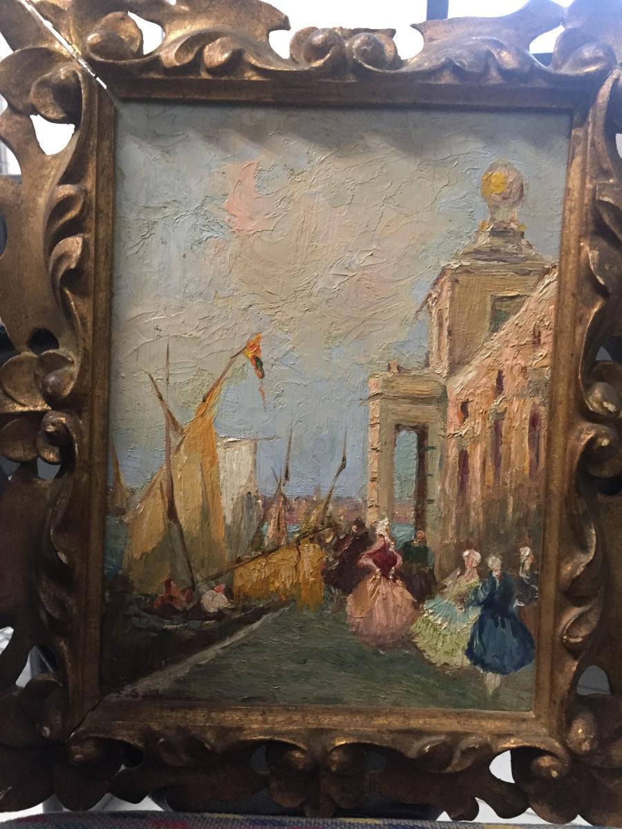 Pair De Vues Vénitiennes Signéès Bonivento