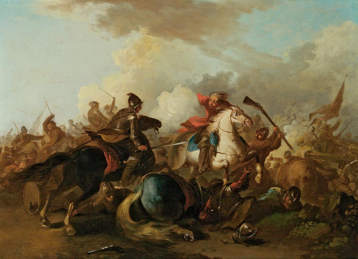 Bataille Huille Sur Panneau XVIIIème Siècle