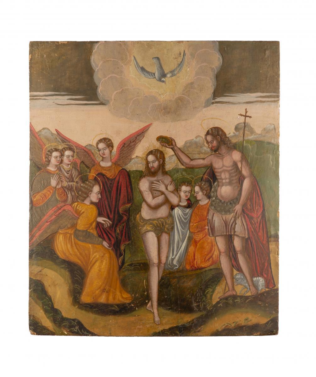 Baptême Du Christ Artiste Vénitien Crétois F. XVI Siècle
