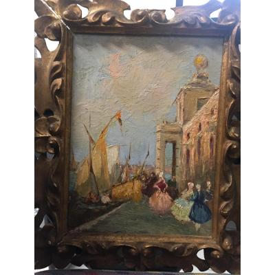 Pair Of Venetian Views Signed Bonivento