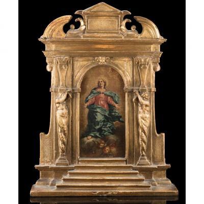 Vierge En Assomption Debut XVIIIème Avec Cadre d'Origine