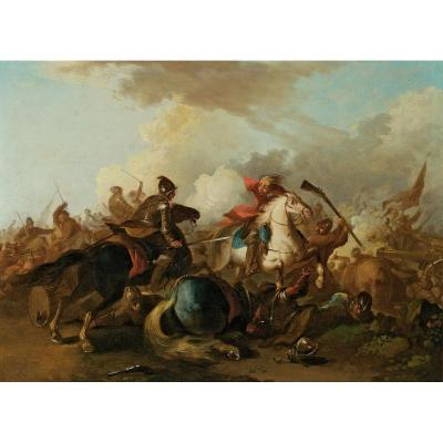 Battle Oil On Panel Eighteenth Century