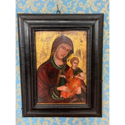 Vierge à l'Enfant Vénitien-crétois Du XVIème Siècle