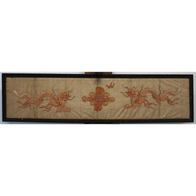 Japanese Silk Embroidered With Dragons, Edo Period