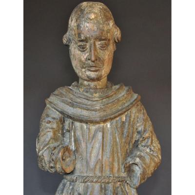 Wooden Sculpture Representing Monk, Umbria Italy Late 15th Century 72 Cm