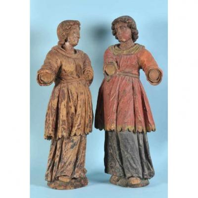 Pair Of Wooden Angels From 17th Century - Italy
