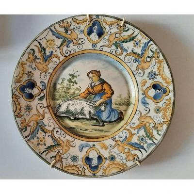 Castelli Ceramic Plate From The Beginning Of The 19th Century