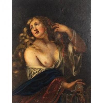 Peinture d'Une Femme à Moitié Nue - Du XVIIe Siècle
