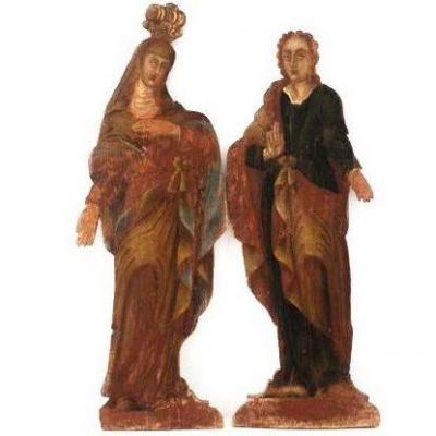 Deux Silhouettes Peintes Du XVIIe Siècle