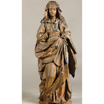 Wood Sculpture - Virgin Of The XVIth Century