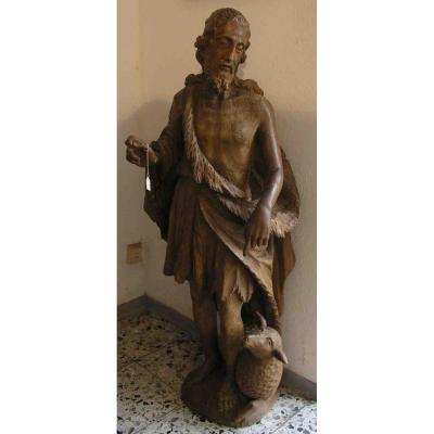 Grande Sculpture En Bois Du XVIIème Siècle - San Giovanni 128 Cm