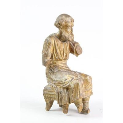 Sculpture En Bois Doré - Philosophe Du XVe Siècle