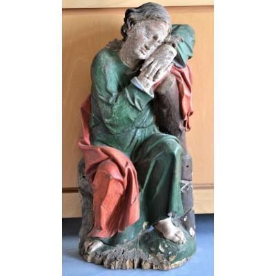 Sculpture En Bois Représentant Saint-jean Du XVIIe Siècle