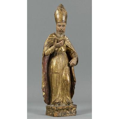 Sculpture En Bois - Évêque Doré Du XVIIIe Siècle