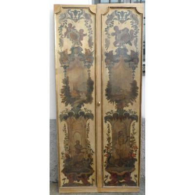 4 Portes Peintes Avec Paysages Et Figures, Italie XVIII Siècle