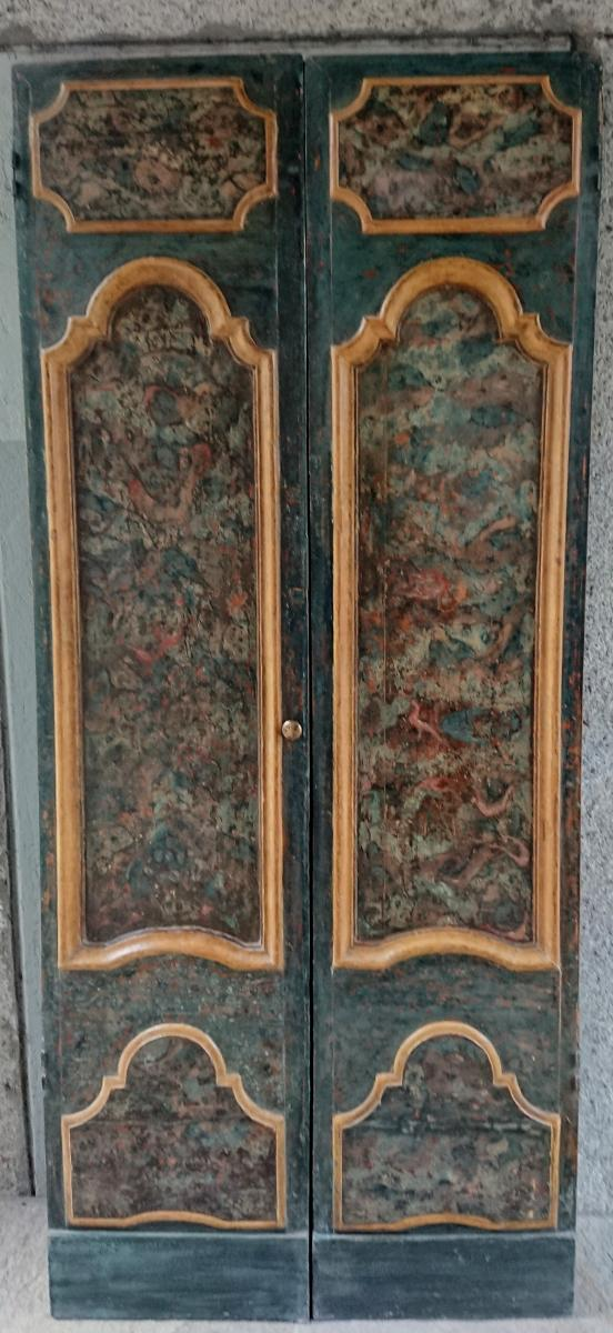 Porte Avec Son Cadre Ou Placard Peint à Tempera, Italie XVIIe Siècle