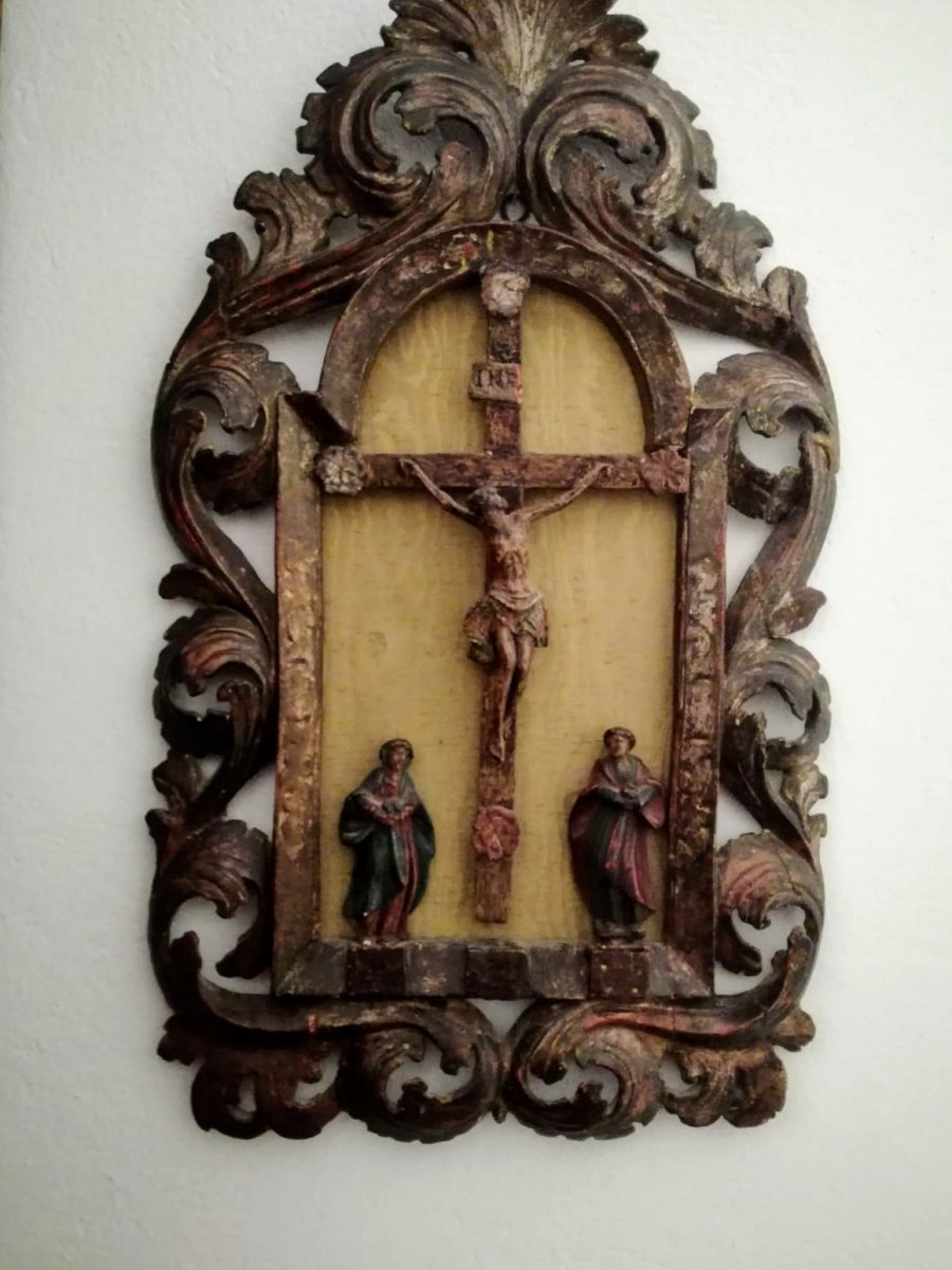 Calvary In Painted Wood Early Eighteenth Century