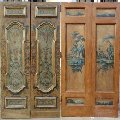 Porte Napolitaine Peinte Des Deux Côtés XVIIIe Siècle