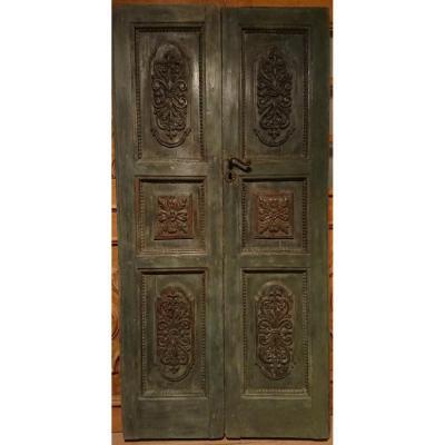 Porte d'Entrée Sculptée Et Peinte XVIIIe Siècle