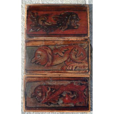 3 Panneaux d'Un Plafond Italien Du XVI Siècle Sujet érotique