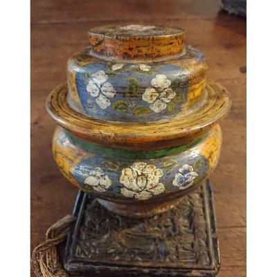 Tsampa Xainted Wooden Bowl Ixth Century