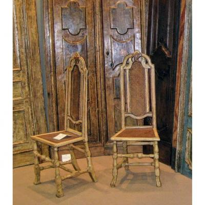 Pair Of Venetian Chairs In Lacquered Walnut