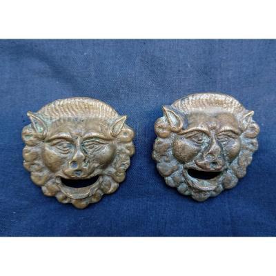 Paire De Plaques En Bronze