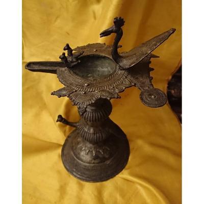 Lampe à Huile Indienne En Laiton XVIIIe Siècle