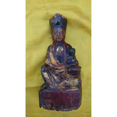 Bodhisattva En Bois Polychrome Dorée XVIIIe Siècle