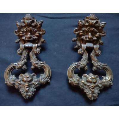 Paire De Heurtoirs En Bronze Louis XIV