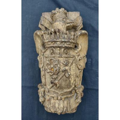 Coat Of Arms In Carved Wood Spain XVIIth Century