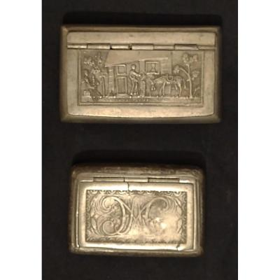 Two Engraved Pewter Snuff Boxes