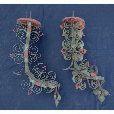 Pair Of Venetian Wrought Iron Sconces Eighteenth Century