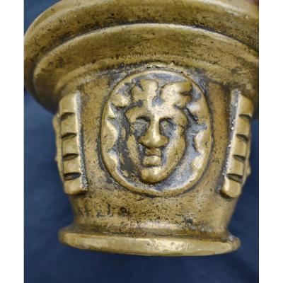 Mortier En Bronze Avec 4 Faunes XVIe Siècle
