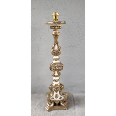 Louis XV Painted And Gilded Walnut Candlestick