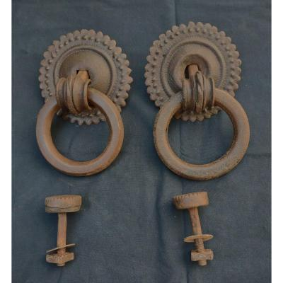 Pair Of Large Italian Wrought Iron Knockers 17th Century