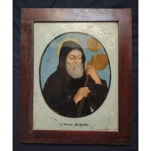 Painting Under Glass Saint François De Paule Eighteenth Century