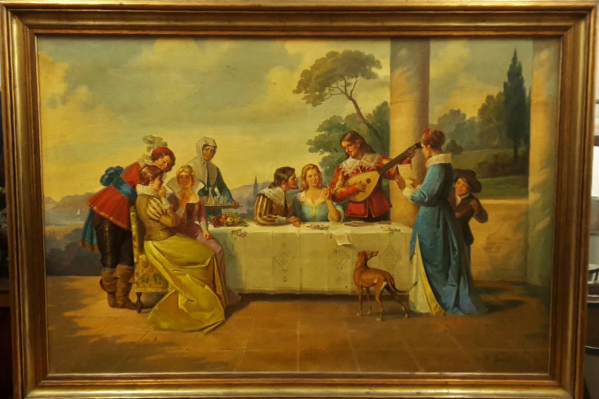 Peinture italienne d'une scène galante seconde moitié du XXe siècle , signé