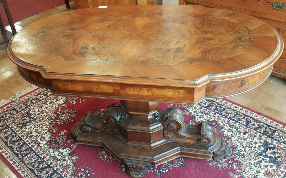 italienne table basse louis philippe en noyer et ronce de. Black Bedroom Furniture Sets. Home Design Ideas