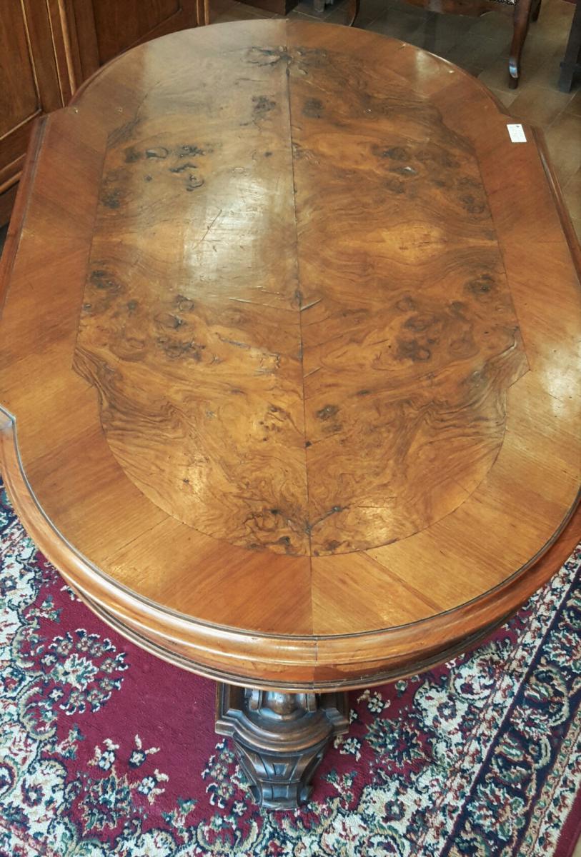 Italienne table basse louis philippe en noyer et ronce de noyer avec tiroir tables - Table basse louis philippe ...
