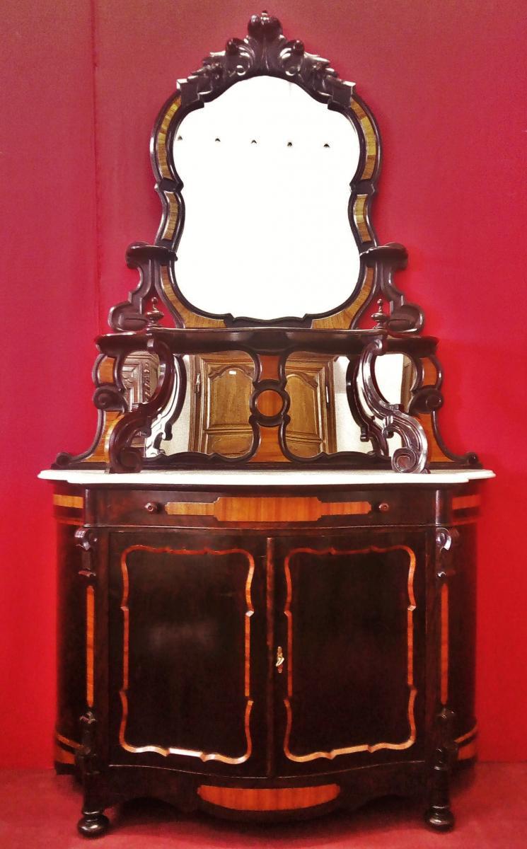 Buffet Lombard Sculpté, Partie Supérieure Avec Miroirs