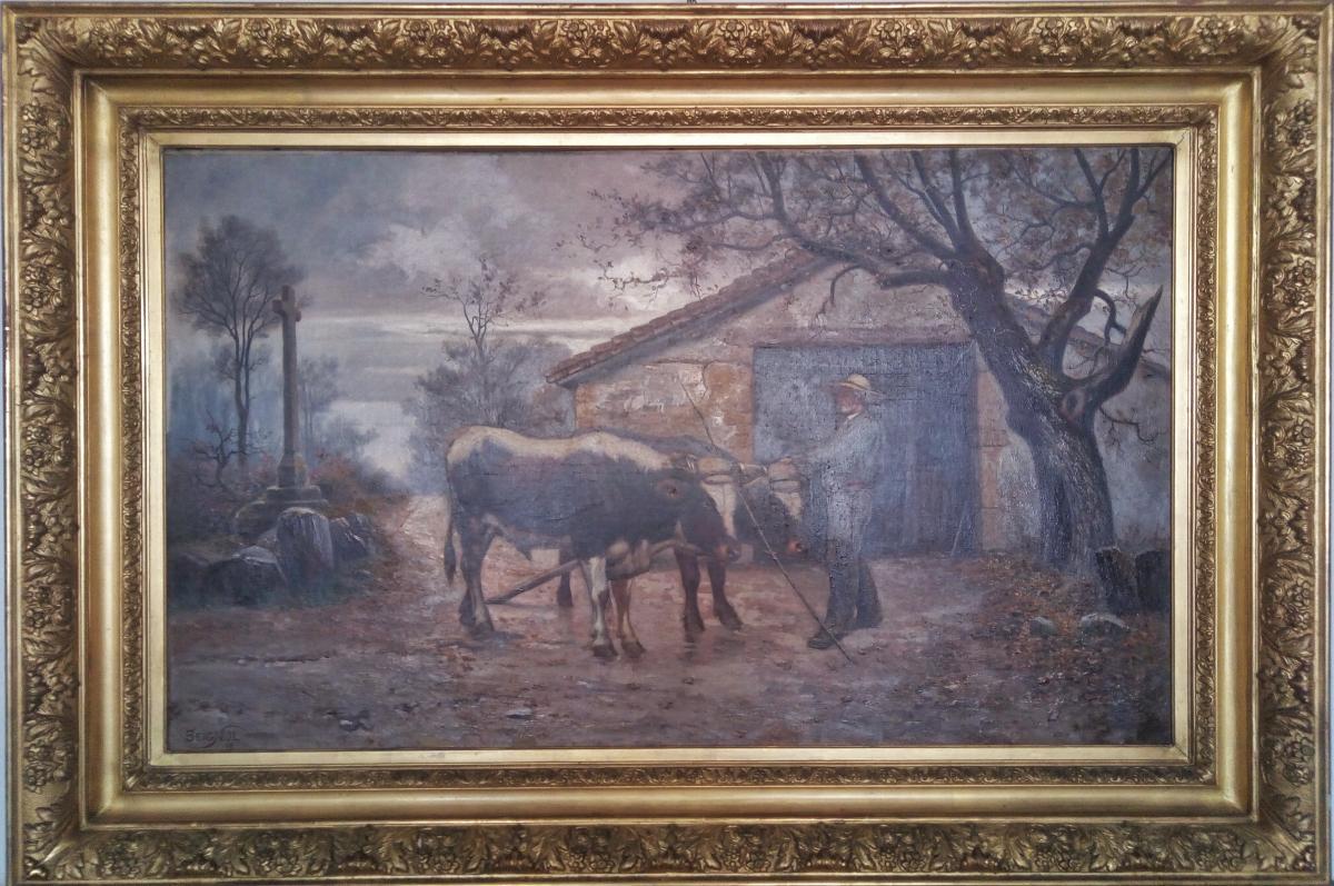 Grande Peinture Rurale Claudius Seignol (lyon 1858-1926)