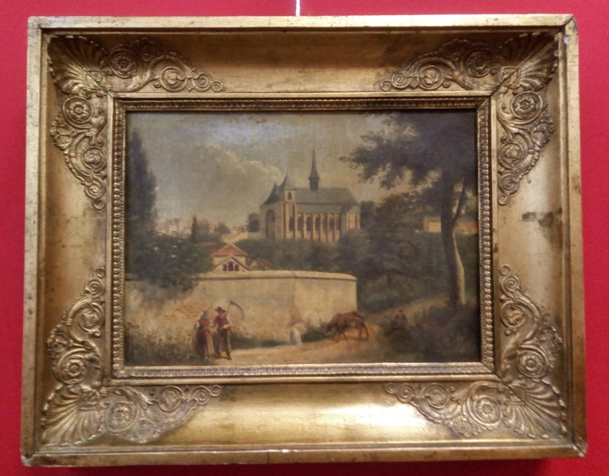 Peinture à l'Huile Française Du Milieu Du XIXe Siècle