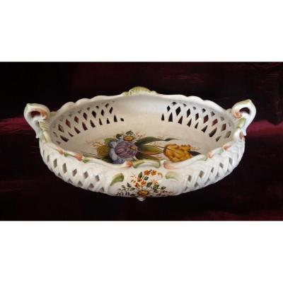 Petit panier en céramique italienne, peint à la main