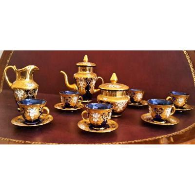 Service de café en verre de Murano décoré à la main