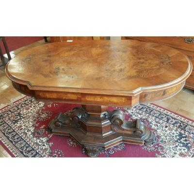 Italian Coffee Table Louis Philippe Walnut Root With Drawer