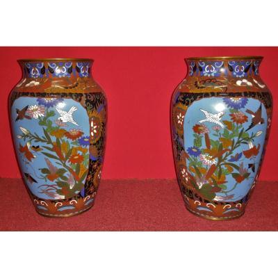 Paire De Vases Cloisonnés