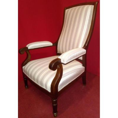 English Armchair With Striped Fabric